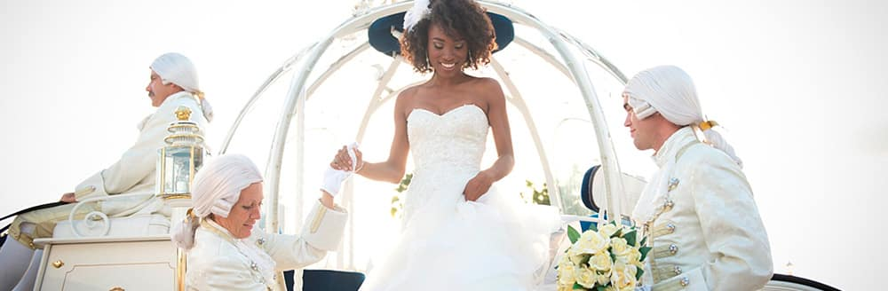 Bride getting off the Cinderella carriage