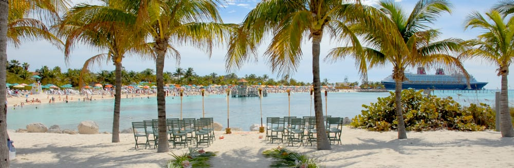 Two groups of chairs flank an aisle on a beach surrounded by palm trees
