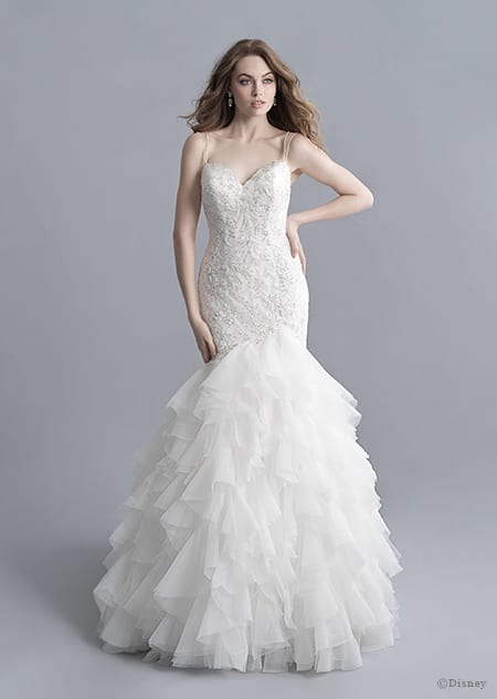 A woman wearing the Ariel wedding gown from the 2020 Disney Fairy Tale Weddings Platinum Collection
