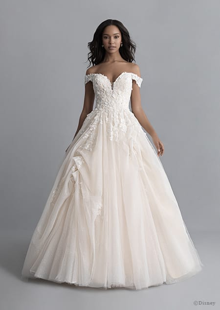 A woman wearing the Belle wedding gown from the 2020 Disney Fairy Tale Weddings Platinum Collection