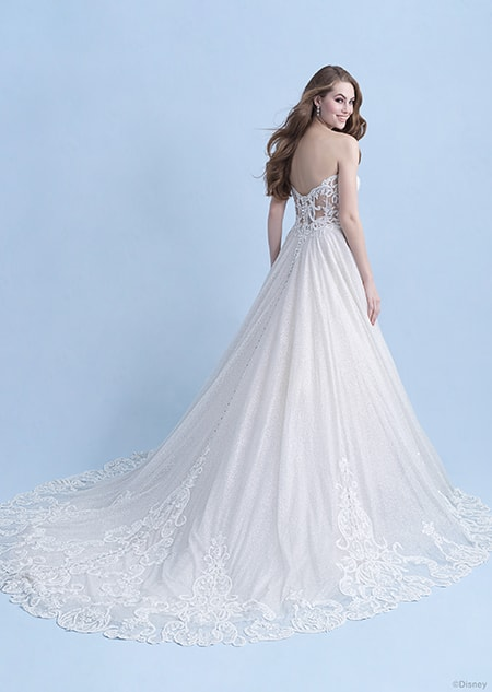 A back side view of a woman wearing the Cinderella wedding gown from the 2021 Disney Fairy Tale Weddings Collection