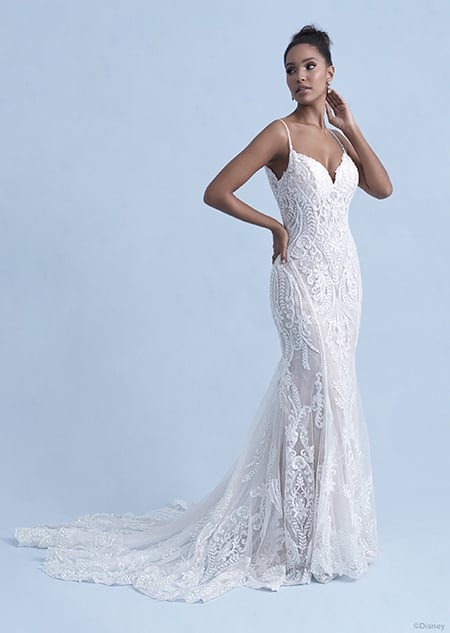 A woman in the Tiana wedding gown from the 2021 Disney Fairy Tale Weddings Collection