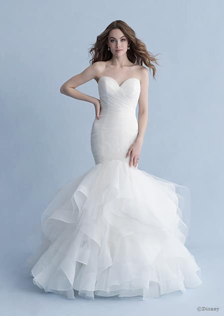 A woman dressed in the Ariel wedding gown from the 2020 Disney Fairy Tale Weddings Collection