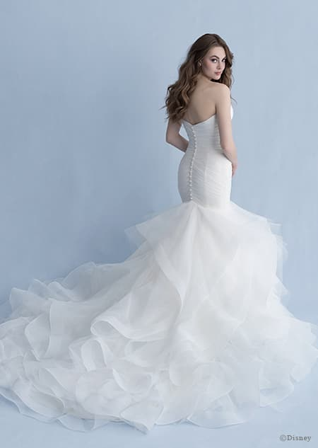 A back side view of a woman in the Ariel wedding gown from the 2020 Disney Fairy Tale Weddings Collection