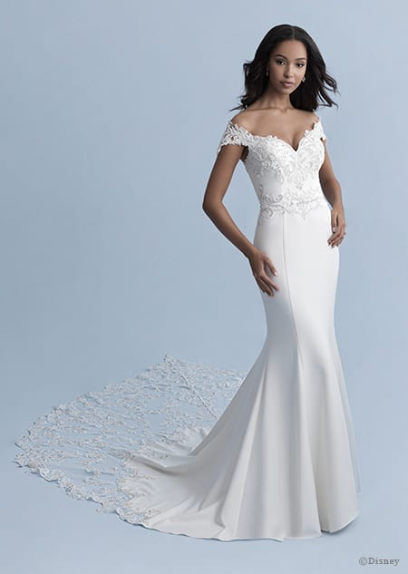 A woman wearing the Jasmine wedding gown from the 2020 Disney Fairy Tale Weddings Collection