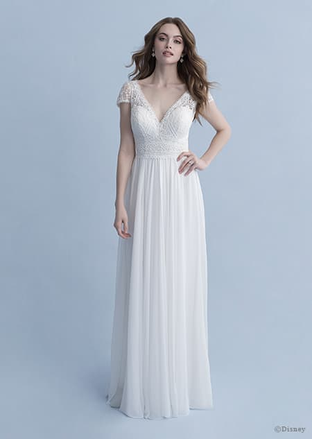 A woman wearing the Rapunzel wedding gown from the 2020 Disney Fairy Tale Weddings Collection