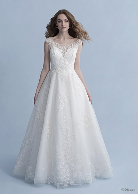 A woman in the Snow White wedding gown from the 2020 Disney Fairy Tale Weddings Collection
