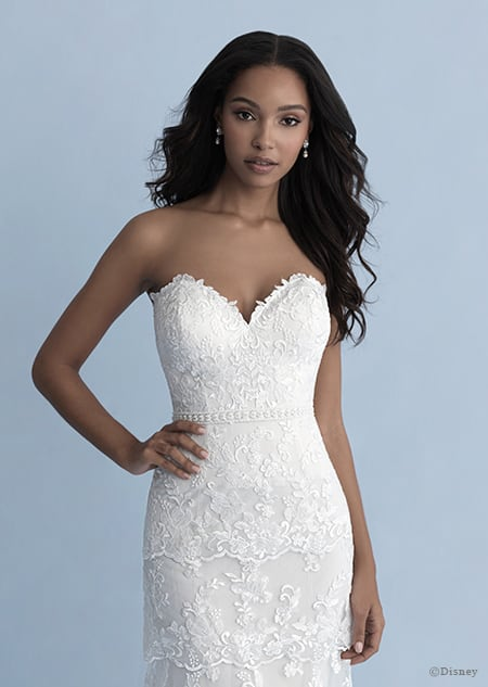 A woman wearing the Tiana wedding gown from the 2020 Disney Fairy Tale Weddings Collection