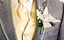 A boutonniere on a man's suit