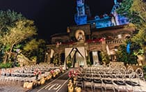 Chairs, flowers and an altar set up in front of the Hollywood Tower Hotel