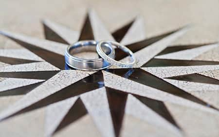 A diamond ring sits on top of a wedding band