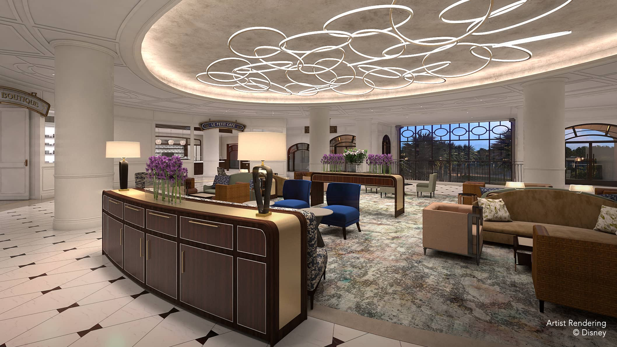 The Lobby lounge area at Disney's Riviera Resort, furnished with chairs, sofas and tables