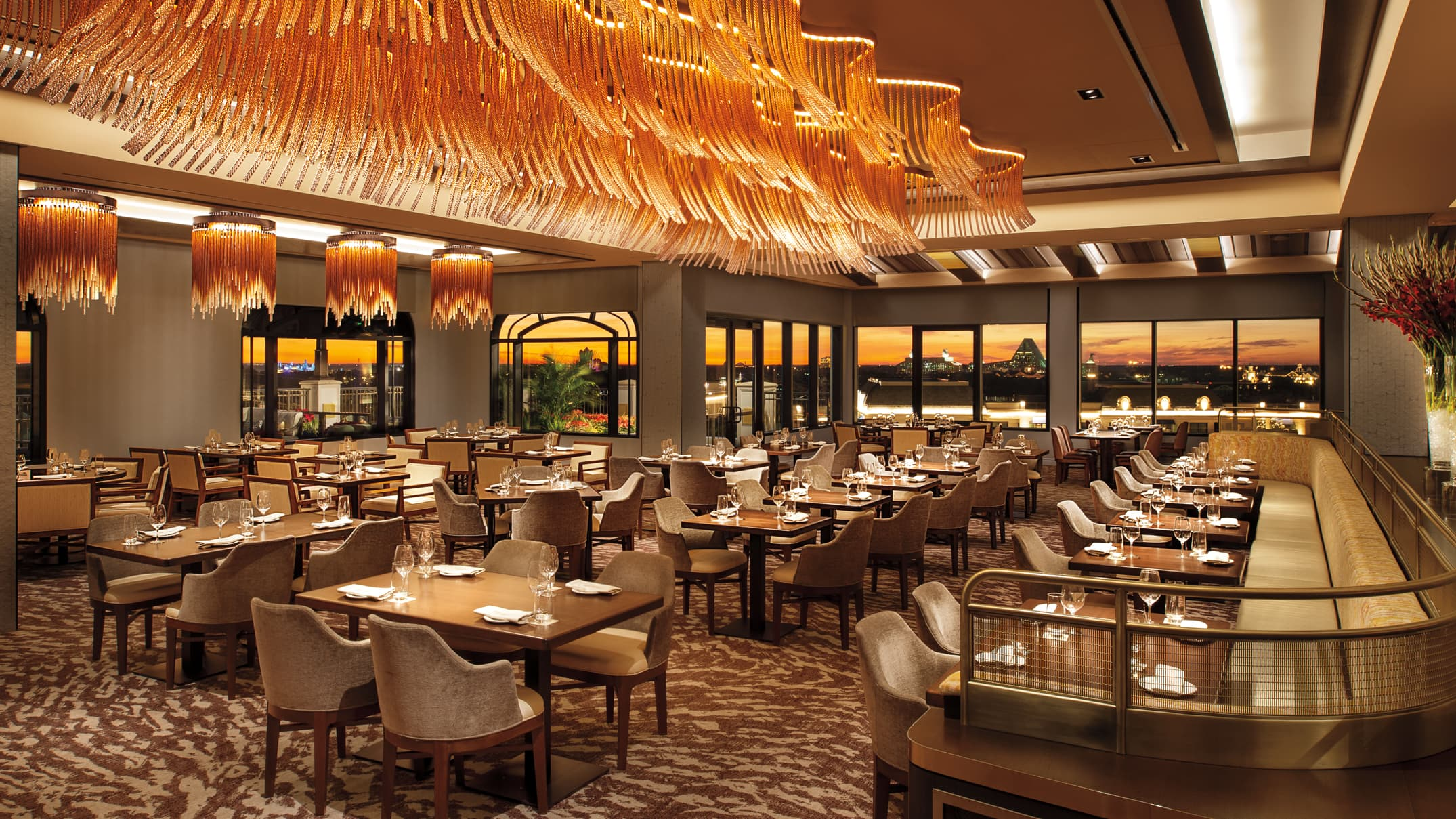 The dining room at Topolino's Terrace – Flavors of the Riviera restaurant