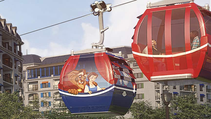 An artist rendering shows guests riding in a Disney Skyliner gondola past Disney's Riviera Resort