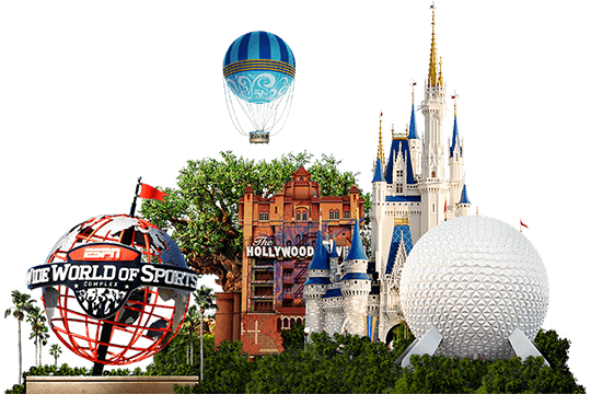 ESPN Wide World of Sports Complex logo, The Twilight Zone Tower of Terror, Cinderella Castle and Spaceship Earth