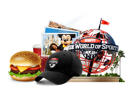 The ESPN Wide World of Sports globe icon, a cheeseburger, drink cup, Mickey photo and a baseball cap
