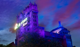 The Twilight Zone Tower of Terror in Disney's Hollywood Studios lit up at night