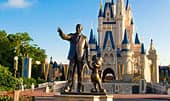 Partners statue of Walt Disney and Mickey Mouse and, beyond, Cinderella Castle