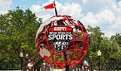 EPSN Wide World of Sports logo on world globe signage outside of the sports complex.