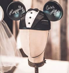 Mickey Mouse ears hat with Happily Ever After written on the ears.